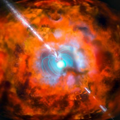 ilustração de uma explosão de raios gama e de uma supernova originadas por um magnetar