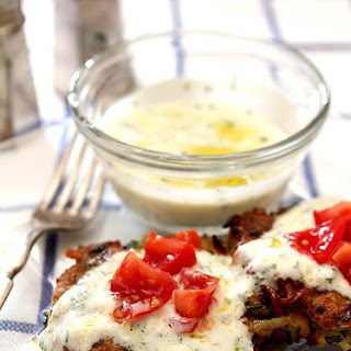 Zucchini-Potato-Herb Fritters with Garlic Yogurt Sauce