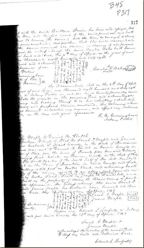 Amelia Bates of Warren County, Ohio convey land to Britton Moore Irwin 1868 2