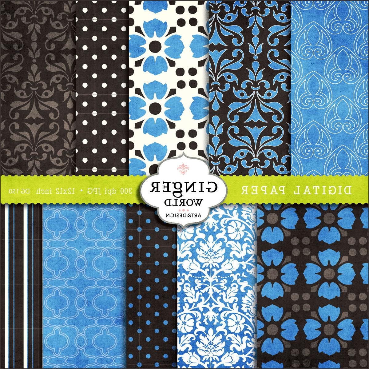 Digital Paper Pack in Sapphire blue flower urban chic for scrapbooking