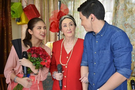 Maine Mendoza, Gloria Romero and Alden Richards in KalyeSerye