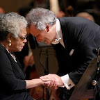 Maya Angelou and Louis Langrée after her narration of Copland's