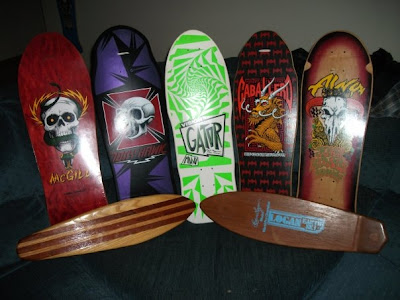 Someones personal collection of boards.