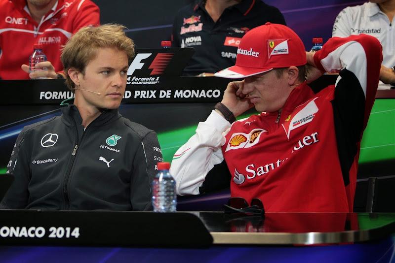 Нико Росберг и Кими Райкконен на пресс-конференции в среду на Гран-при Монако 2014