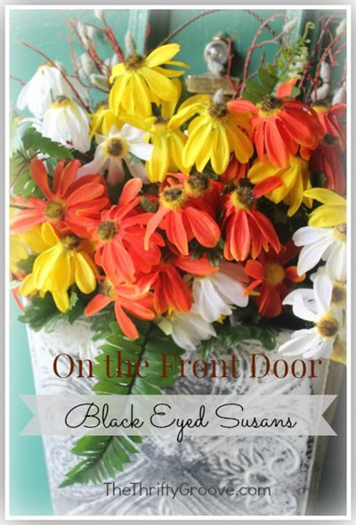 Quick, easy and thrifty Blacked Eyed Susans front door wreath