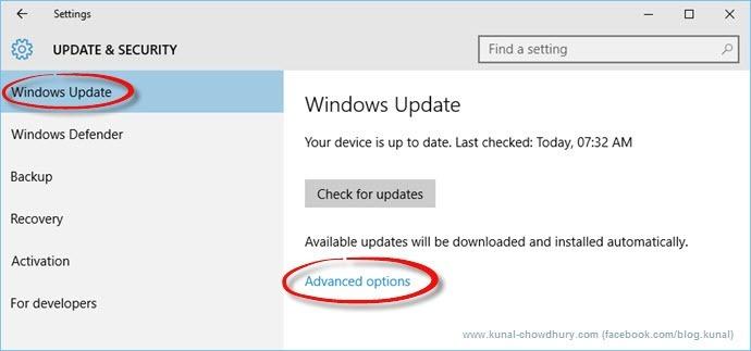 Windows Update Page in Windows 10 (www.kunal-chowdhury.com)