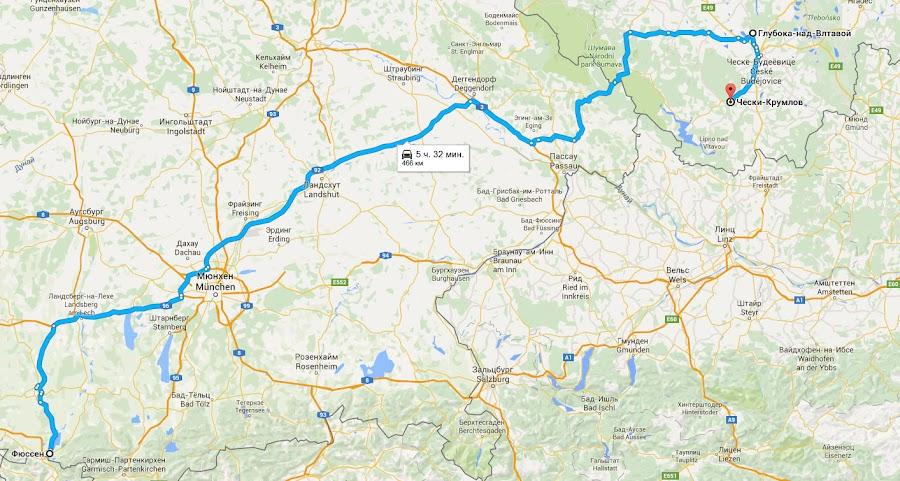 Маршрут следования из Фюссена в Крумлов.jpg