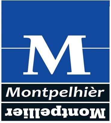 Lògo de Montpelhièr occitan e francés al revèrs