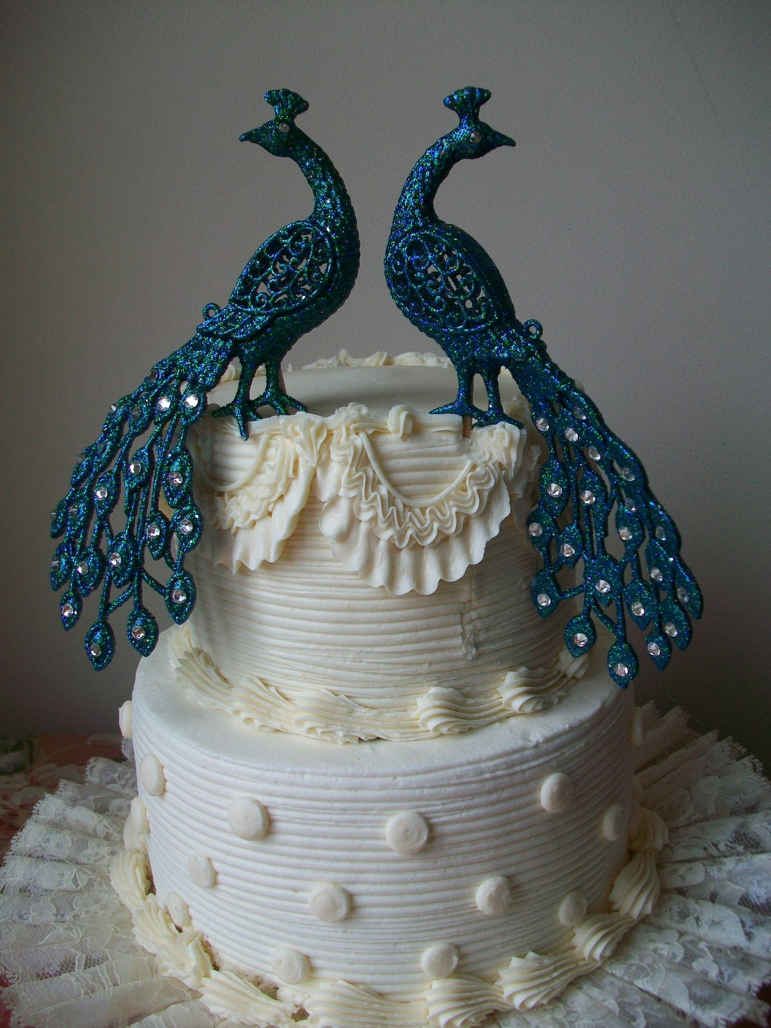 Wedding Peacocks Cake Topper