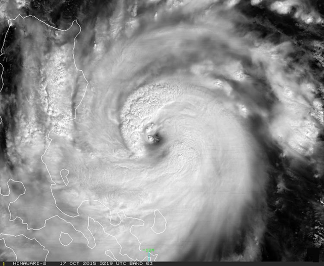 Typhoon Koppu as seen by Japan's Himawari satellite on Saturday, 17 October 2015 at 02:19 UTC (10:19 pm EDT Friday.) At the time, Koppu was an intensifying Category 3 storm with 120 mph winds. Graphic: NOAA / RAMMB and Japan Meteorological Agency
