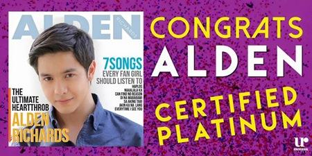 Alden Richards debut album turns platinum