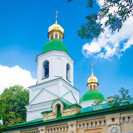Ukraine Monastery Onion Dome by Gary Hanson - Buildings & Architecture Places of Worship ( gold, monastery, ukraine, details, kiev, building, green roof, onion dome )