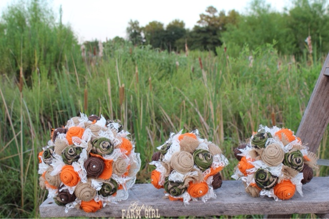 rustic burlap wedding flowers for camo wedding