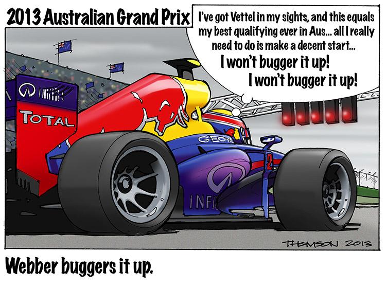 Марк Уэббер проваливает очередной старт - комикс Bruce Thomson по Гран-при Австралии 2013