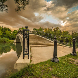Sunset in the park by Donna Sparks - Buildings & Architecture Bridges & Suspended Structures ( color, sunset, bridge,  )