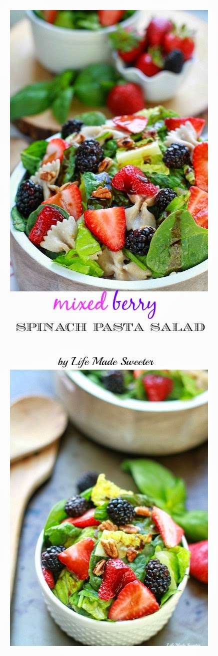 Mixed Berry Spinach Pasta Salad coated with balsamic dressing makes a light & refreshing side dish.jpg