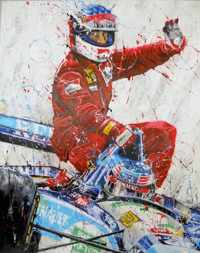 картина Art Rotondo - Монреальское Такси 1995 - Михаэль Шумахер подвозит Жана Алези на чемпионском Benetton B195
