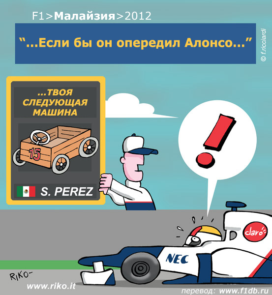 Серхио Перес на Sauber преследует Фернандо Алонсо - комикс Riko по Гран-при Малайзии 2012