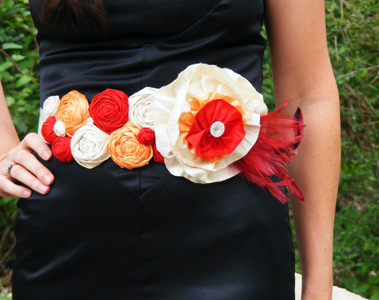 Silk Rosette Bridal Sash Belt-
