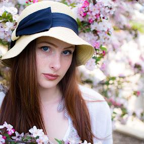 Apple Blossom by John  Pemberton - People Portraits of Women ( high key, blooming, woman, bloom, spring, portrait, flower,  )