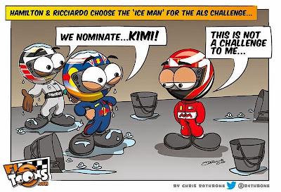 Льюис Хэмилтон и Даниэль Риккардо номинируют Кими Райкконена на Ice Bucket Challenge - комикс Chris Rathbone