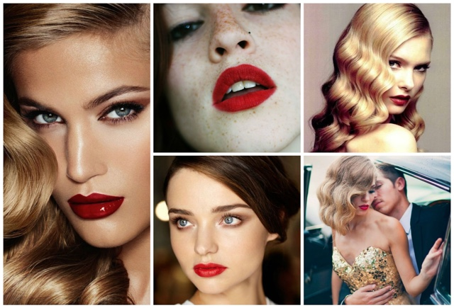 retro fashion red lips
