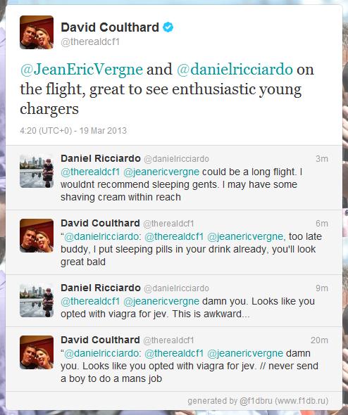 Дэвид Култхард и Даниэль Риккардо переписываются в твиттере во время перелета 19 марта 2013