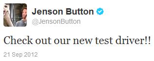 Дженсон Баттон в твиттере