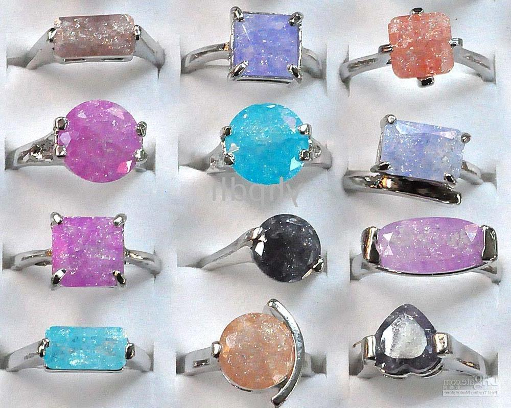 Wholesale - Multicolor Gemstone Rings Gem Stone Crystal Ring Costume Jewelry
