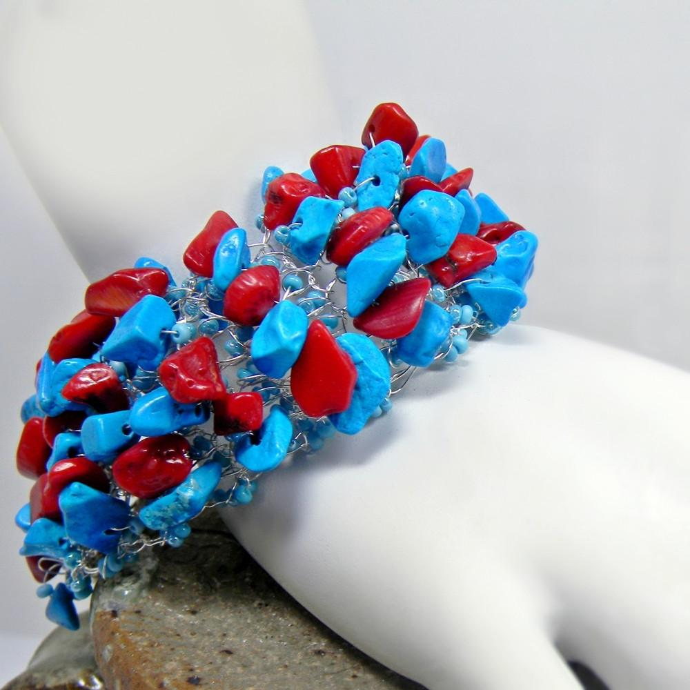 Wire Crochet Turquoise And Coral Bracelet Handmade - Wide - Clubbing
