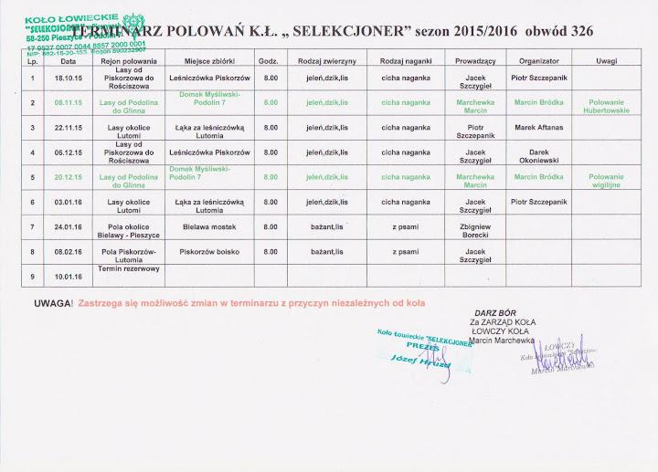 Kalendarz polowań na sezon 2015/2016