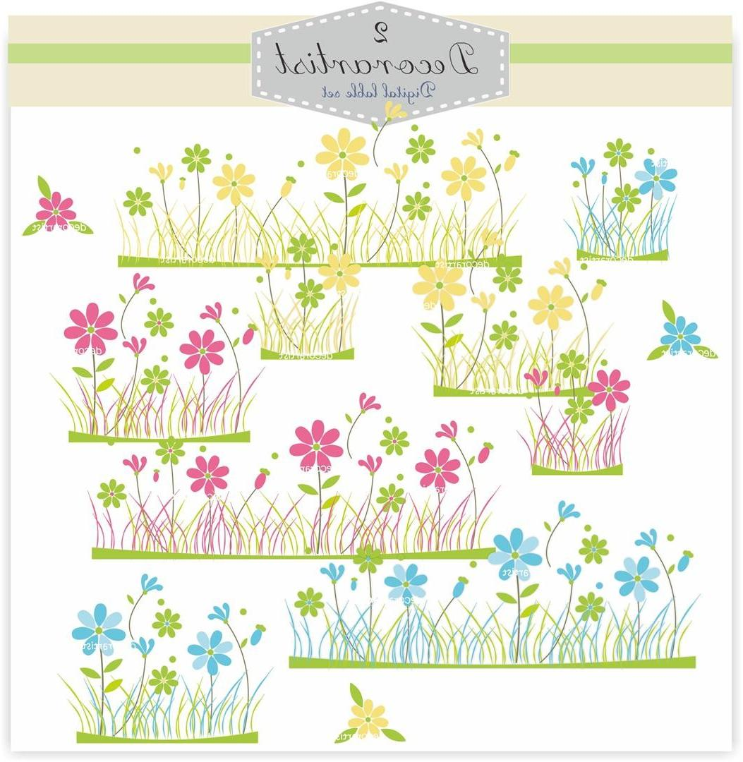 Flower clip art, flower field,