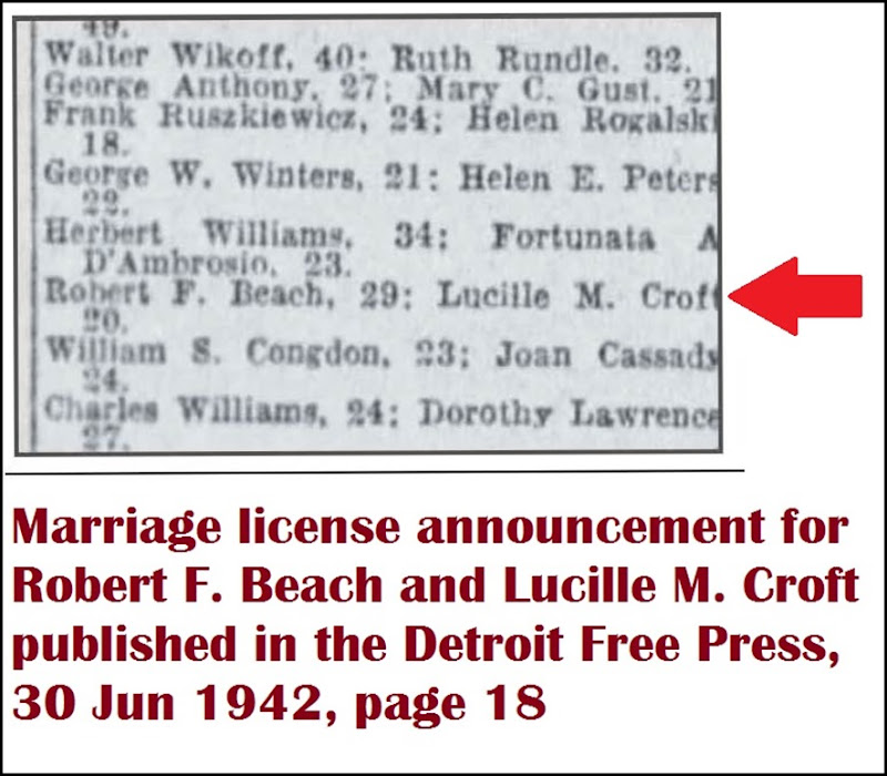CROFT_Lucille_and_Robert_BEACH_marriage_lic_DFP_30_Jun_1942_pg_18_annotated