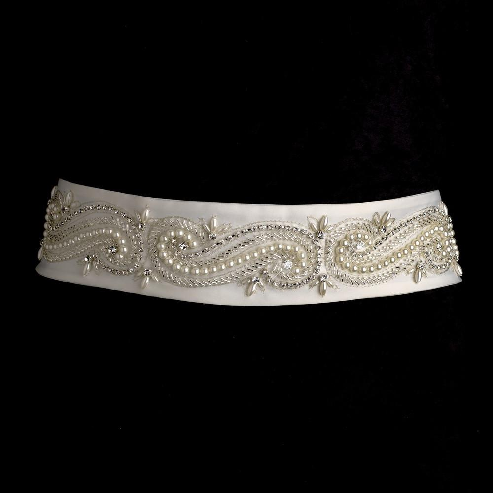 Swirl Design Bridal Sash Belt. Double click on above image to view full