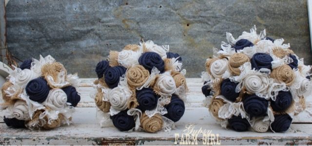 rustic navy burlap wedding bouquets