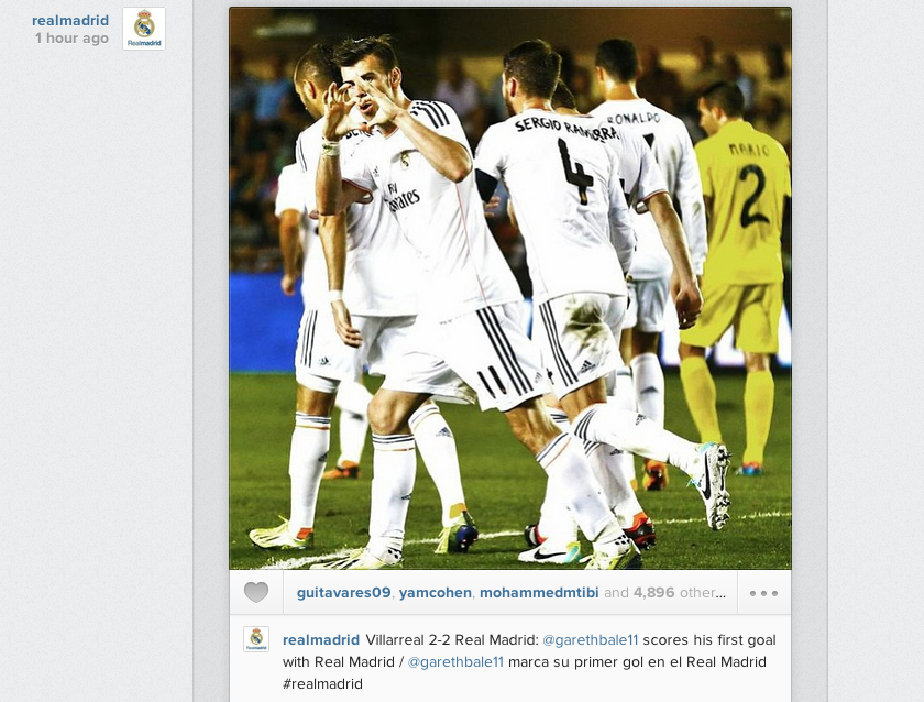 Screen+Shot+2013 09 15+at+01.35.47 Real Madrid post Instagram picture of the Gareth Bale heart celebration v Villarreal