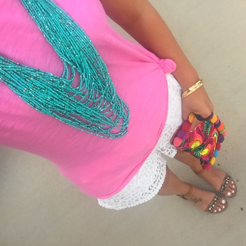 boho chic, lace shorts, beaded necklace, jeweled sandals, pom pom clutch