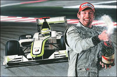 рисунок Дженсон Баттон с шампанским на фоне болида Brawn GP by Steve Caldwell caldwellart