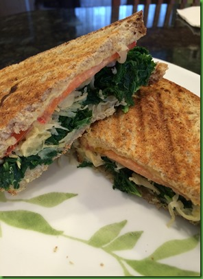 Kale and sauerkraut sandwich