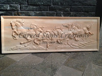 Running Horses - Marble Relief Carving, 4ft
