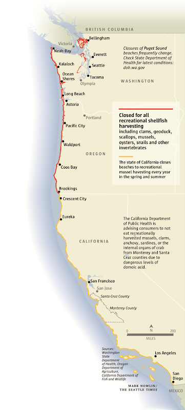 Map showing U.S. West Coast beaches that were closed to shellfish harvesting during the summer of 2015. Graphic: Mark Nowlin / Seattle Times