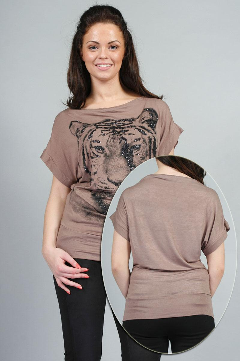 Hitta 00G NEW WOMENS SCOOP NECK TIGER PRINT GLITTER PARTY TOP LADIES T-SHIRT