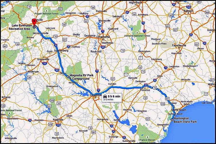 00 - 2015 Summer Travel Map - Lake Powhatan, NC