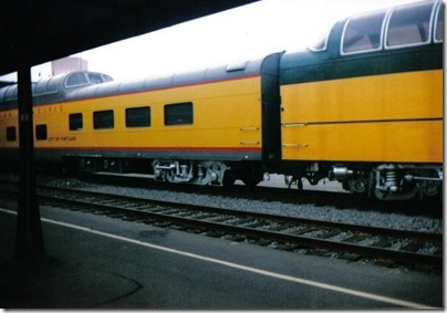 Union Pacific Dome Dining Car #8008 City of Portland at Union Station in Portland, Oregon on September 26, 1995