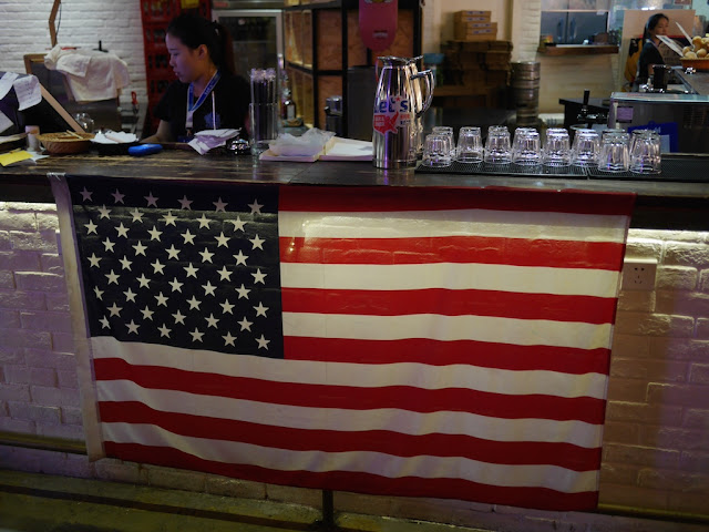 U.S. Flag hanging at a bar in Changsha