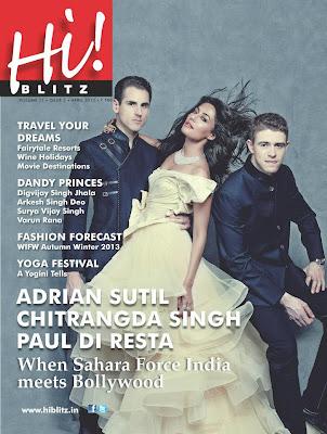 Пол ди Реста и Адриан Сутиль на обложке журнала Hi!Blitz с болливудской актрисой Читрангадой Сингх