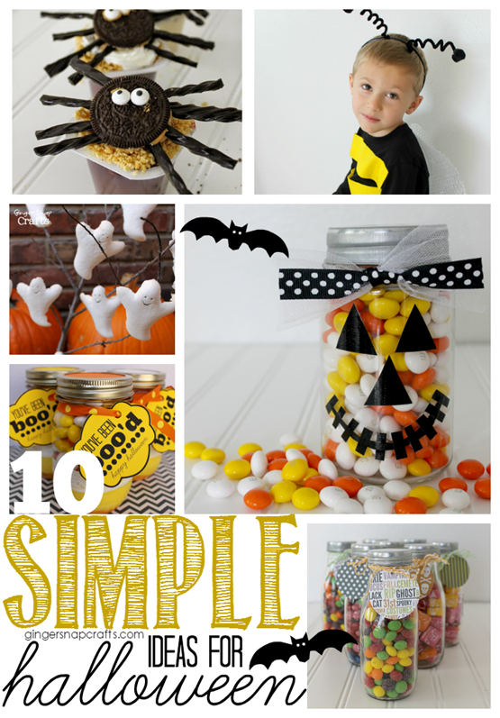 10 Simple Ideas for Halloween at GingerSnapCrafts.com #halloween #crafts