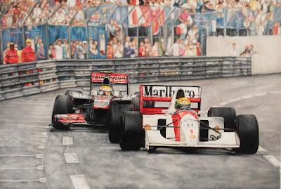 Айртон Сенна и Льюис Хэмилтон за рулем своих болидов McLaren на трассе Монте-Карло - рисунок Donna-Marie Quick