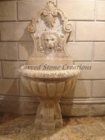 6-FT Lion Wall Fountain W/ Scrolled Pedestal, Light Oriental Travertine