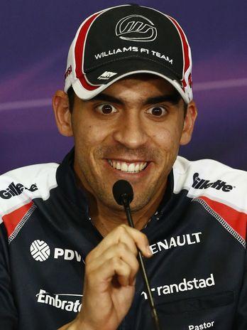 полный эмоций Пастор Мальдонадо на пресс-конференции в четверг на Гран-при Малайзии 2012